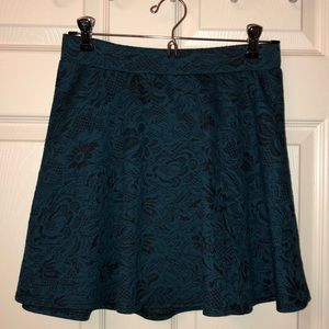 Black and blue lace pattern skirt